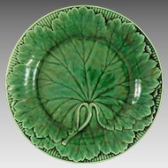 Antique Wedgwood Majolica Green Leaf Plate - 19th Century, England