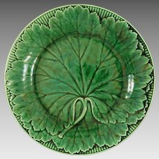 Antique Wedgwood Majolica Green Leaf Plate - 19th Century, England