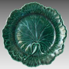 Wedgwood Majolica Green Leaf Plate - after 1940, England