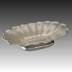"18"" Christofle Large Centerpiece Basket Weave Vannerie Silver Plate Bread - 1862-1935 mark, France"