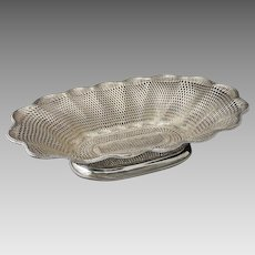 "18"" Christofle Large Centerpiece Basket Weave Vannerie Silver Plate - 1862-1935 mark, France"