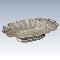 "18"" Christofle Large Centerpiece Basket Weave Vannerie Silver Plate - 1862-1935 mark, France"