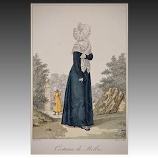 French Traditional Normandy Costume de Bolbec Engraving by Gatine after Lante - first published 1827, Paris