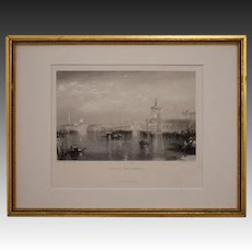 VENICE - THE DOGANA Engraving after W. M. Turner Black White Framed