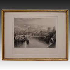 ANCIENT ROME Engraving after W. M. Turner Black White Framed