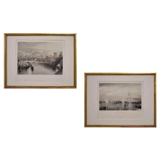 Pair Engravings Venice and Rome after William Turner Black and White Framed