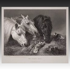 "Engraving Horses ""A Scanty Meal"" by Hacker after Herring"