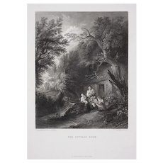 The Cottage Road Engraving after Gainsborough by Cousen Black White