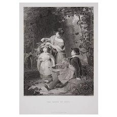 "Children Engraving ""The Crown of Hops"" by H. Bourne after W. F. Witherington"