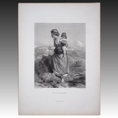 "Engraving Mother and Child ""The Mountaineer"" engraved by Thomas Garner after Paul Falconer Poole"