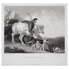 "Hunting Engraving ""Bringing Home the Deer"" by J.T. Willmore after A. Cooper"
