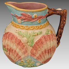 Antique Wardle & Co. Majolica Coral, Shell, Seaweed Large Pitcher English Registry Mark - c. 1868-1910, England
