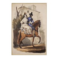 """Seville """"Going to the Feria"""" Antique Color Lithograph after Dominguez Becquer / Gauci / Hullmandel - 19th Century, England"""