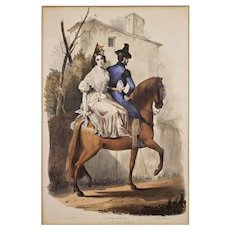 "Seville ""Going to the Feria"" Antique Color Lithograph after Dominguez Becquer / Gauci / Hullmandel - 19th Century, England"