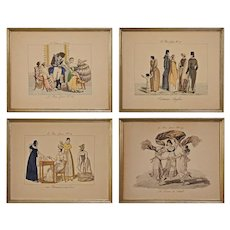 Set Four Le Bon Genre French Costume Fashion Engravings Framed