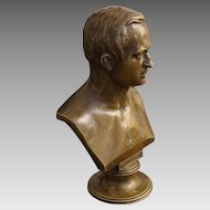 Classical Bronze Bust Handsome Gentleman Brown Patina on Circular Pedestal