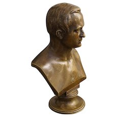 Classical Bronze Bust Handsome Gentleman Brown Patina on Circular Pedestal