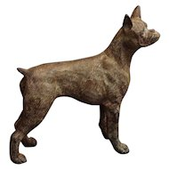 Boxer Dog Patinated Bronze Figurine