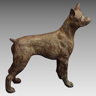 Boxer Dog Patinated Bronze Figurine