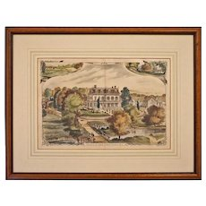Residence of LEWIS C. HURD, Hurdtown, N.J. Color Lithograph Framed Winsor Del - 19th Century, New Jersey, USA