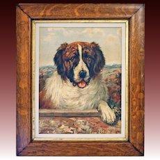 Saint Bernard Dog Portrait Chromolithograph after C. L. Van Vredenburgh Original Frame