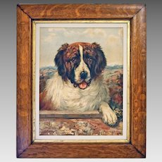Saint Bernard Dog Portrait Chromolithograph after C. L. Van Vredenburgh Original Frame