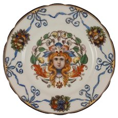 Thallmaier Female Mask Porcelain Plate Blue Ribbons - active 1890 to 1910, München