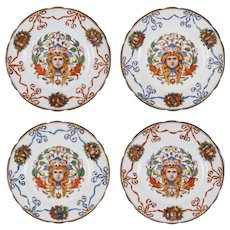 F. X. Thallmaier Set of Four Female Mask Porcelain Plates - München