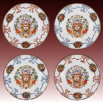 F. X. Thallmaier Set of Four Female Mask Porcelain Plates - München