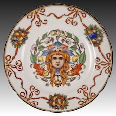 Thallmaier Female Mask Porcelain Plate Red Ribbons - active 1890 to 1910, München