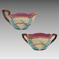 Wedgwood Majolica Fan Cream Sugar Registry Mark 2755 - pre 1884, England