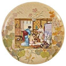 """Monumental Chinoiserie French Faience Charger Montereau, Barluet et Cie Le Toilette Japonaise 45 cm / 17 3/4"""" - 19th Century, France"""