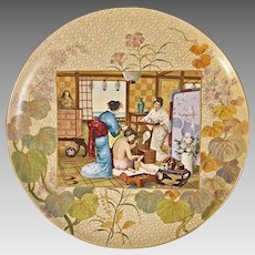 "Monumental Chinoiserie French Faience Charger Montereau, Barluet et Cie Le Toilette Japonaise 45 cm / 17 3/4"" - 19th Century, France"