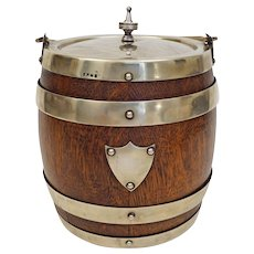 Antique English Oak and Silver Plate Ice Bucket / Biscuit Barrel Liner Shield
