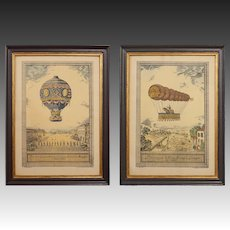 Pair French Hot Air Balloon Wood Engraving Paris Limoges Framed Borguesse