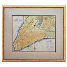 Antique Americana NY Map A Plan of the City of New York Hand Colored Engraving Framed - circa 1863, USA