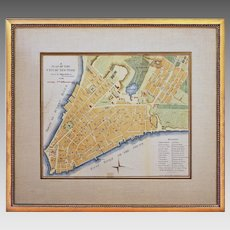Antique Americana NY Map A Plan of the City of New-York Hand Colored Engraving Framed - circa 1863, USA