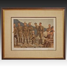 "Antique Spy Vanity Fair Military ""A General Group"" Double Page Large Boer War Chromolithograph Print - 1900, England"