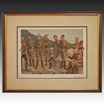 """Antique Spy Vanity Fair Military """"A General Group"""" Double Page Large Boer War Chromolithograph Print - 1900, England"""