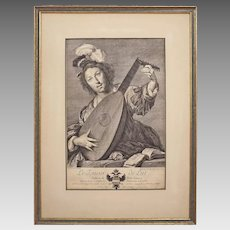 "Antique Engraving Lute Player / ""Joeur de Lut"" / Lautenspieler d'apres Strozzi - 18th Century, Vienna"