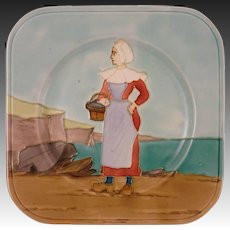 French Faience Longchamp Terre de Fer Square Wall Cabinet Plate Woman Regional Costume  - circa 1890, France