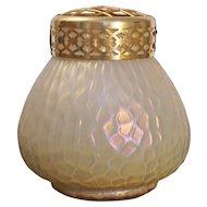 Iridescent Art Glass Poutpourri Vase Brass Lid - c. 1890, Austria / Bohemia