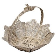 "6"" Solid Silver Filigree Basket Handled Octagonal Large"