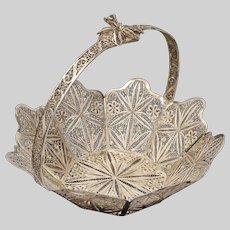 """6"""" Solid Silver Filigree Basket Handled Octagonal Large"""
