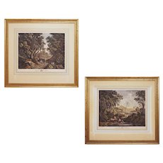 Pair Engravings The Sportsman and The Fisherman after Gaspar Poussin Large