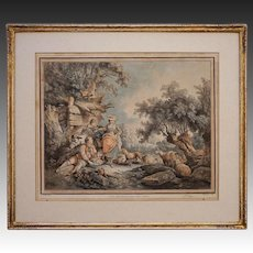 18th Century French Aquatint Etching Demarteau d'apres Huet Pastoral Framed 601- circa 1785, France