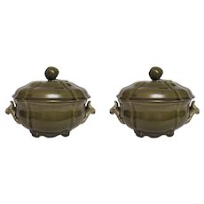 Pair Luneville Faience Moss Green French Lidded Tureens - 20th Century, France