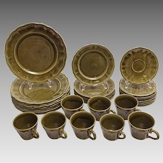Luneville Faience Moss Green French Dinnerware Set for Eight - 20th Century, France