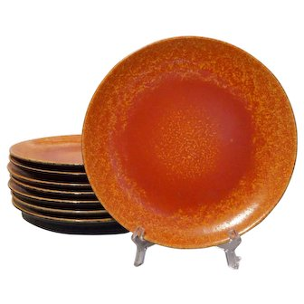 Set 8 Lancastrian Pottery Mottled Orange Vermilion Glaze Plates English - circa 1920-1930, England