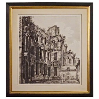 Roman Diocletian Baths Engraving Inscribed Rossini Roma 1823, Framed - Italy